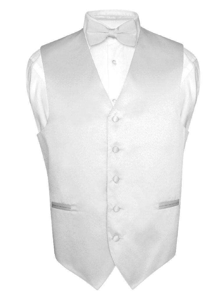 "Black Bow tie White Pocket Hankie Mens Silk BLACK Waistcoat To fit 64/"" Chest"