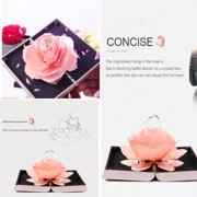 Gobestart 3D Pop Up Rose Ring Box Wedding Engagement Jewelry Storage Holder Case Bump