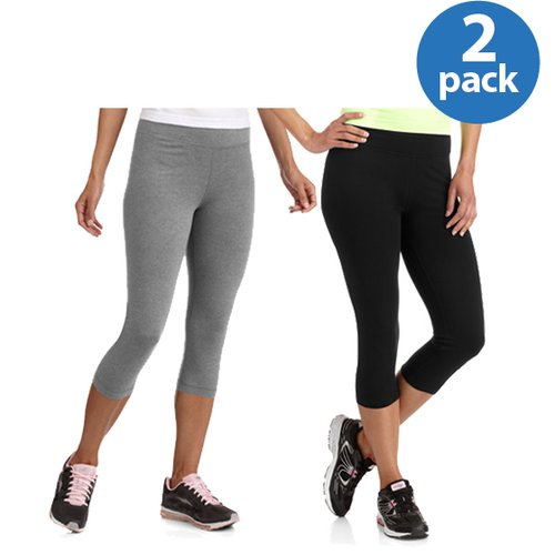 Danskin Now Women;s Dri-More Core Capri Leggings, 2-Pack Value Bundle