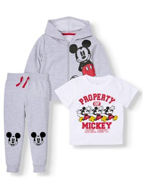 Mickey Mouse Zip Up Hoodie, Short Sleeve Graphic T-shirt & Drawstring Joggers, 3pc Outfit Set (Toddler Boys)