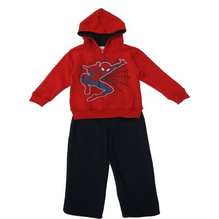 Marvel Little Boys Red Black Spiderman Hooded Jacket 2 Pc Pant Set](Spider Outfit)