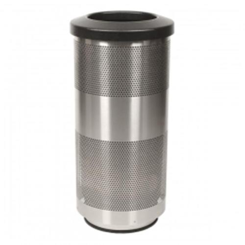 Perforated Steel Column Style Trash Receptacle with Plastic Liner (10 gal.)