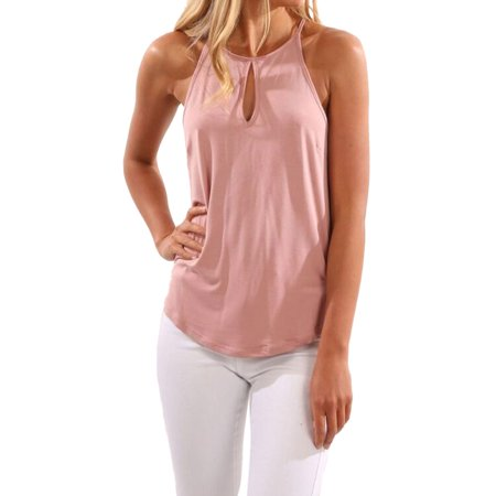 Nlife Women Sleeveless Round Neck Cut Out Front Solid Color Shirt Tops Tanks Cami