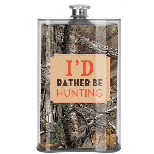 I'd Rather Be Hunting Flask Camo Acrylic Camouflage Drink Gift 5oz Slant