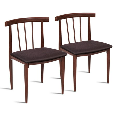 Set of 2 Accent Dining Chairs, 2PCS Modern Side Chair, Fabric Upholstered Cushion, Steel Frame Armless, Thermal Transfer