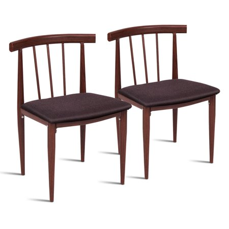 Set of 2 Accent Dining Chairs, 2PCS Modern Side Chair, Fabric Upholstered Cushion, Steel Frame Armless, Thermal Transfer - image 9 de 9