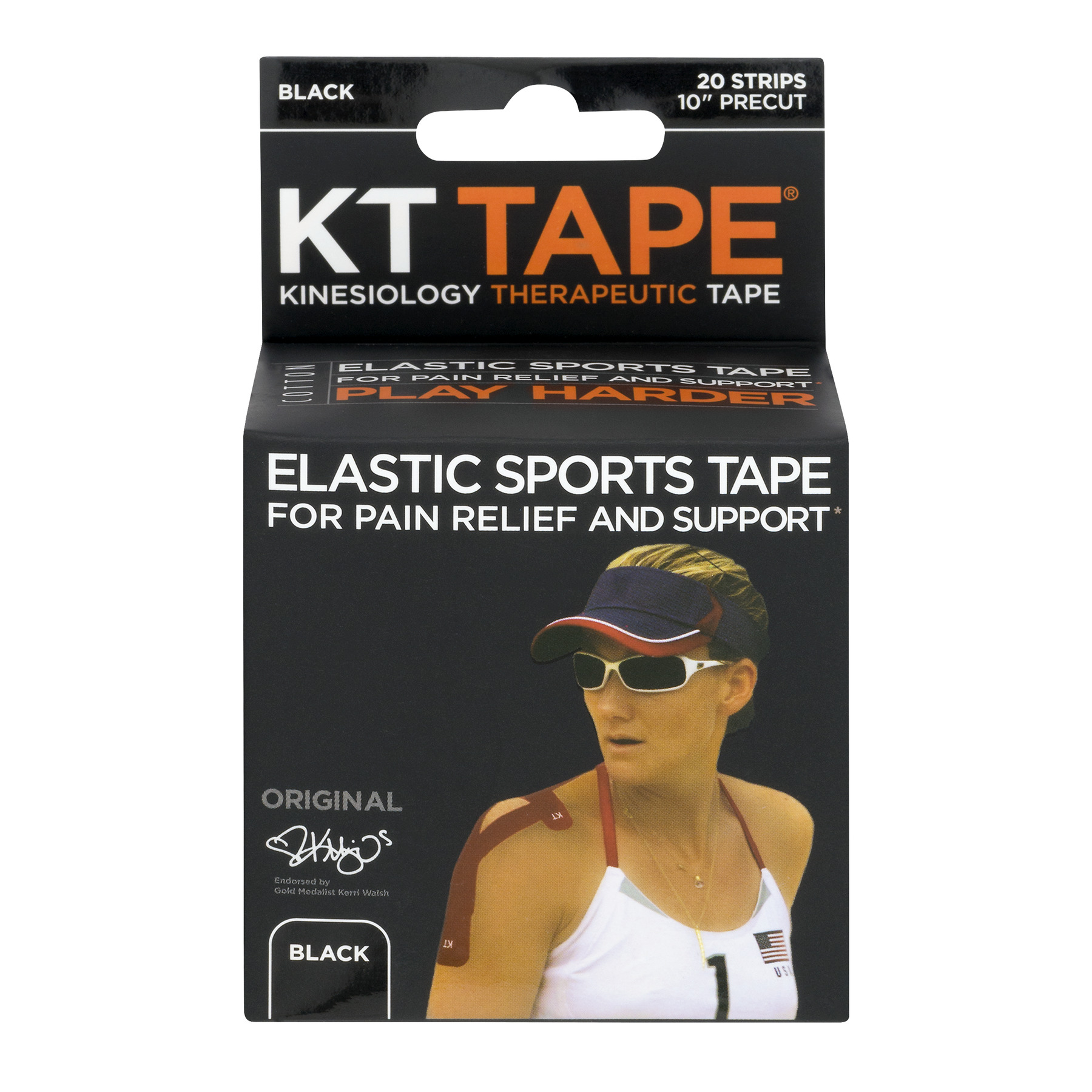 KT Tape Elastic Sports Tape Strips Black - 20 CT20.0 CT