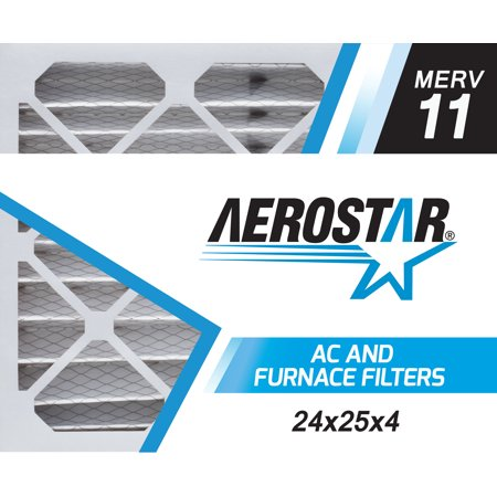 Aerostar 24x25x4 MERV  11, Pleated Air Filter, 24 x 25 x 4, Box of 6, Made in the