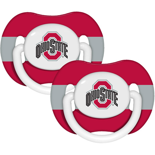 Baby Fanatic NCAA 2-Pack Baby Pacifiers, Ohio State Buckeyes
