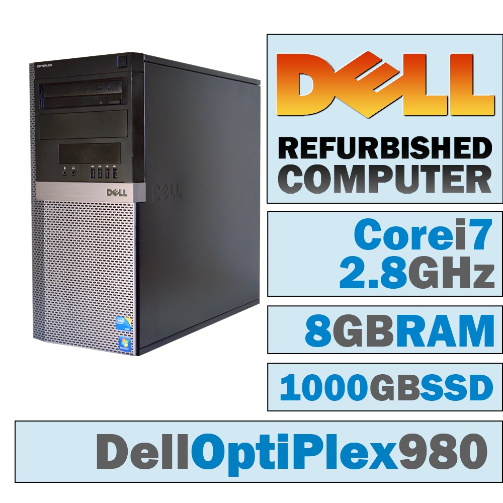REFURBISHED Dell OptiPlex 980 MT/Core i7-860 @ 2.8 GHz/8GB DDR3/NEW 1000GB SSD/DVD-RW/WINDOWS 10 PRO 64 BIT