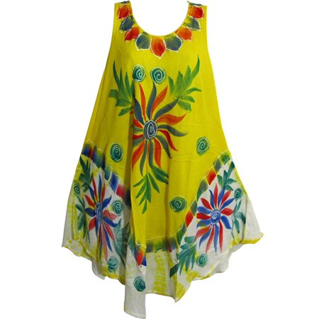 Bohemian Lightweight Soft Tie-Dye Floral Sleeveless Long Sun Dress JK #18 Yellow ()