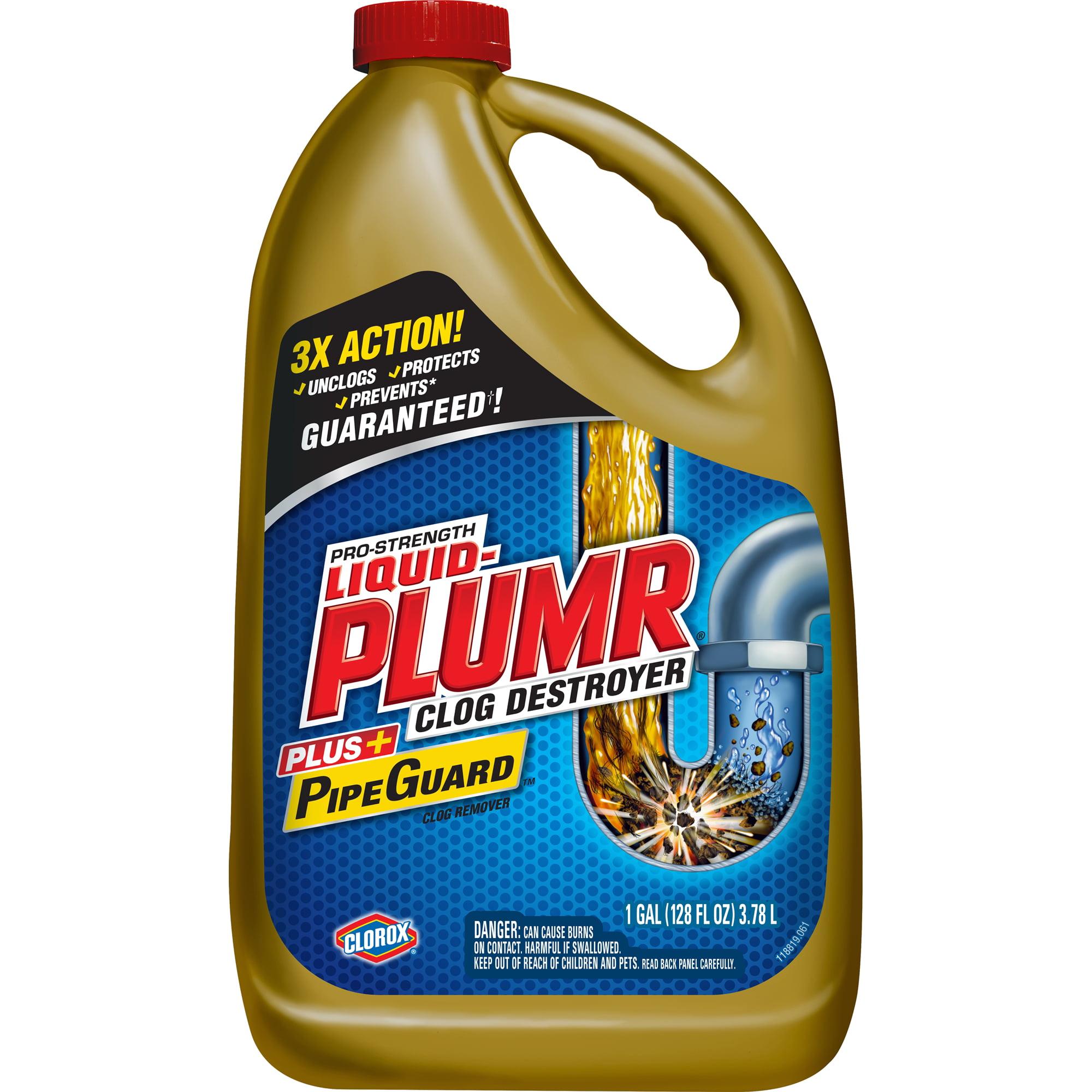 Liquid-Plumr Pro-Strength Full Clog Destroyer Plus PipeGuard, 128 oz