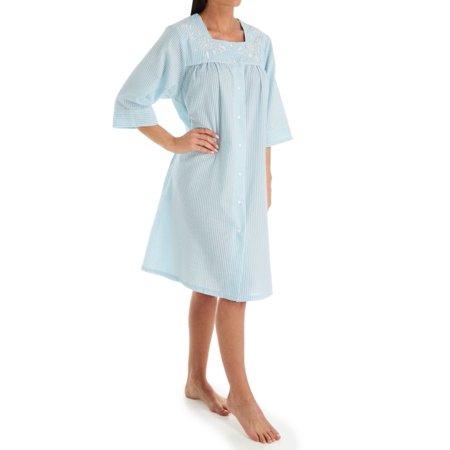 Women's KayAnna R04046 Short Striped Seersucker Housecoat