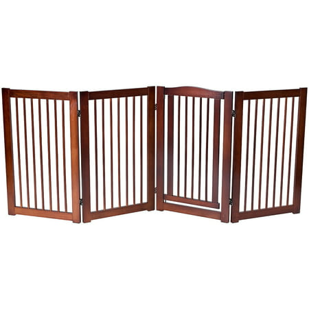 Gymax 36'' Configurable Folding Free Standing 2/4/6 Panel Wood Pet Dog Safety Fence w/ (Folding Wood Pet Gate)