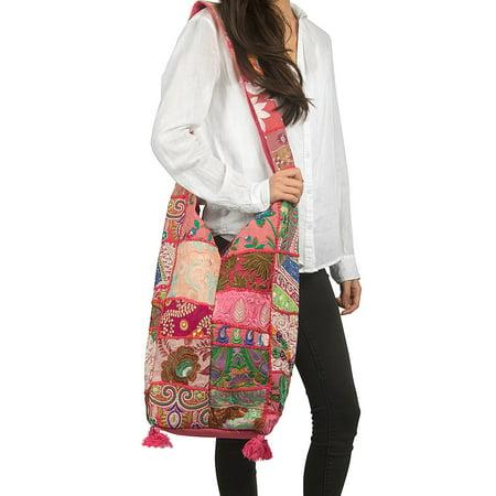 Tribe Azure Pink Women Fashion Hobo Floral Shoulder Bag Monk Style Canvas Sling Tote Handbag Crossbody Roomy Summer Spring Chic