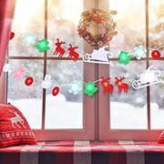 7 FT Christmas Felt Fabric LED String Lights, LED Decorative Lights for Xmas Tree, Fireplace, House Decorations, Cute Santa Claus, Sleigh, Elk and Snowflake Shape