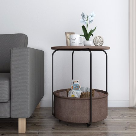 Lifewit Round Side End Table Coffee with Storage Basket, Nightstand Modern Home ()