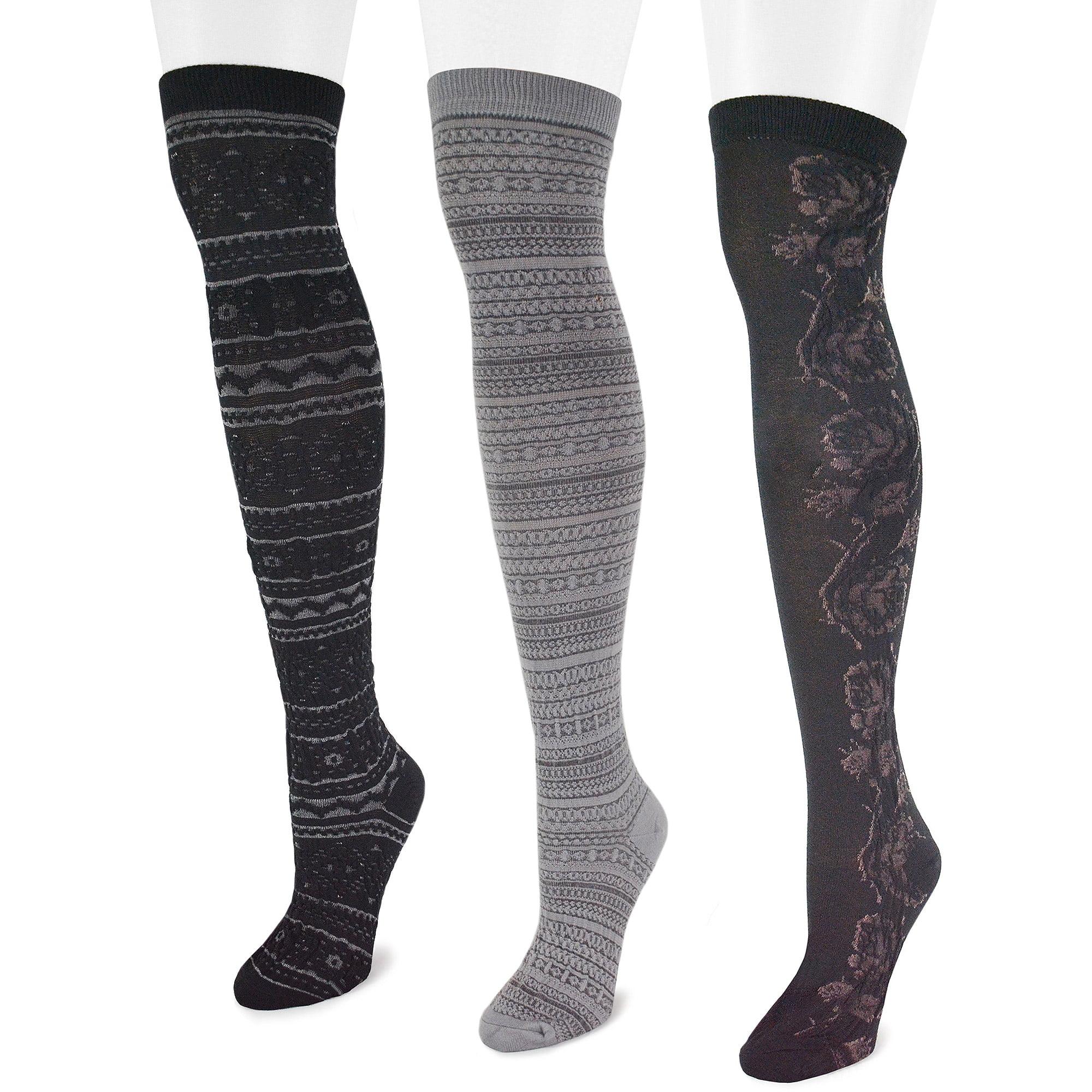 MUK LUKS Women's Microfiber 3-Pair Black Pack Over the Knee Socks