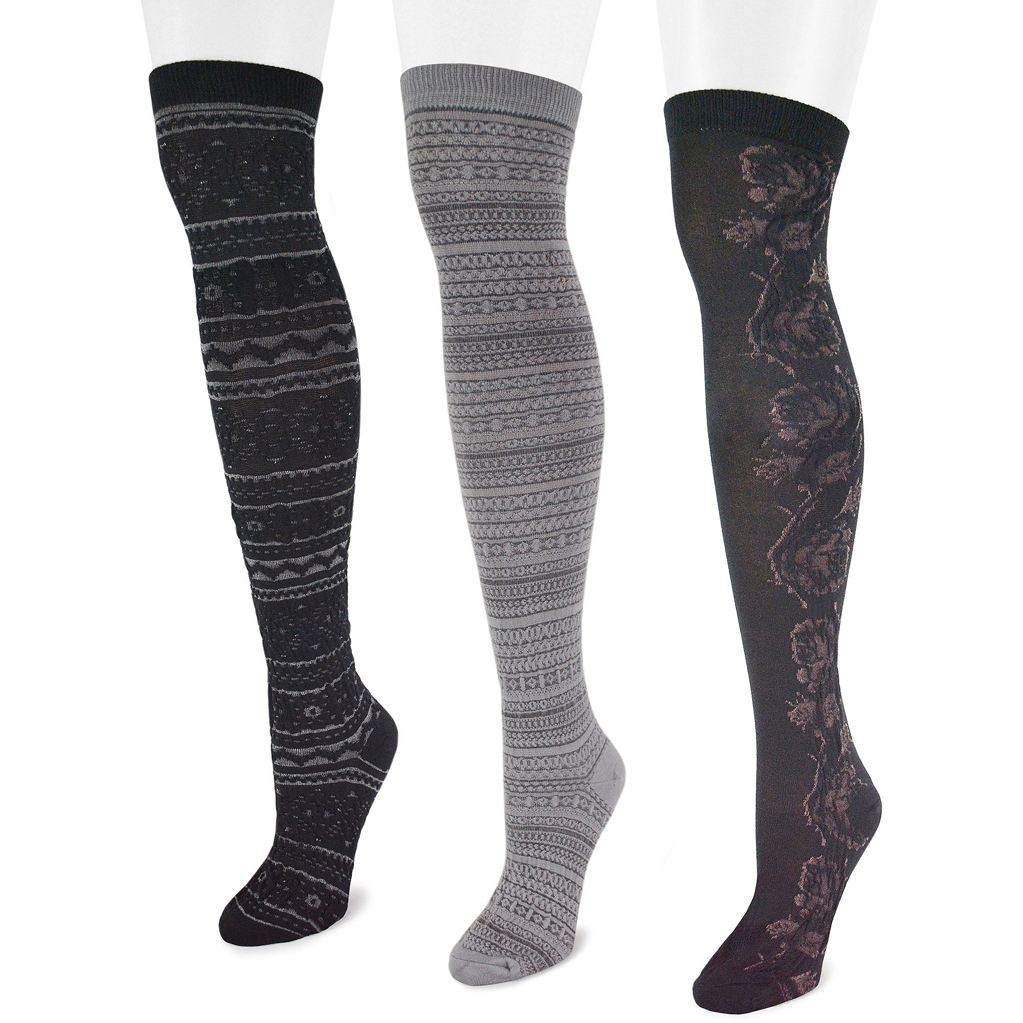 MUK LUKS Women's Microfiber 3-Pair Black Pack Over the Knee Socks