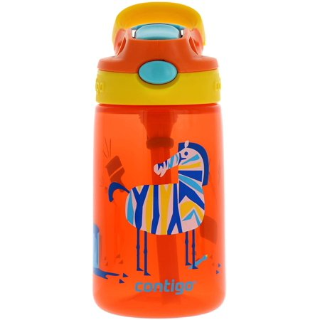 AUTOSPOUT Kids Gizmo Flip Water Bottle, 14oz Coral Orange Zebra Graphic ? Leak & Spill Proof Bottles for Home or Travel ? Easy-Clean, Dishwasher Safe ? Press Button For Pop Up Straw