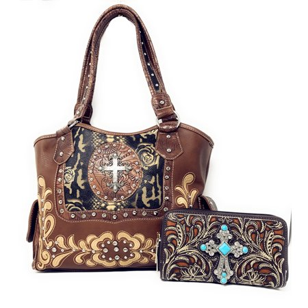 Rhinestone Studded Large Metal Cross Flora Leather Shoulder Handbag Purse With Matching Wallet In Multi Colors
