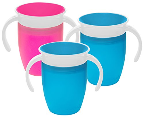 Munchkin Miracle 360 Degree 7 Ounce Spoutless Trainer Cup, 3 Pack, Pink/Blue/...