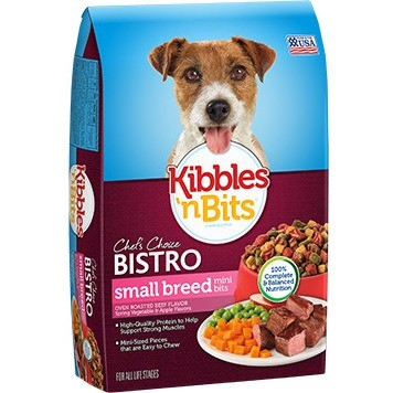 Kibbles 'n Bits Bistro Mini Bits Small Breed Roasted Beef Flavor Dry Dog Food, 16 Lb