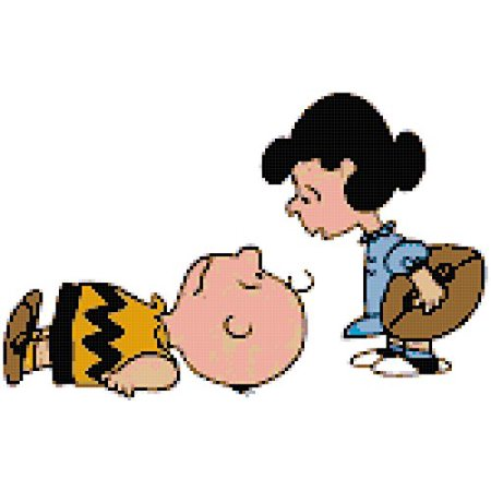 Charlie Brown And Lucy Football - Peanuts Charlie Brown and Lucy Football Counted Cross Stitch Pattern