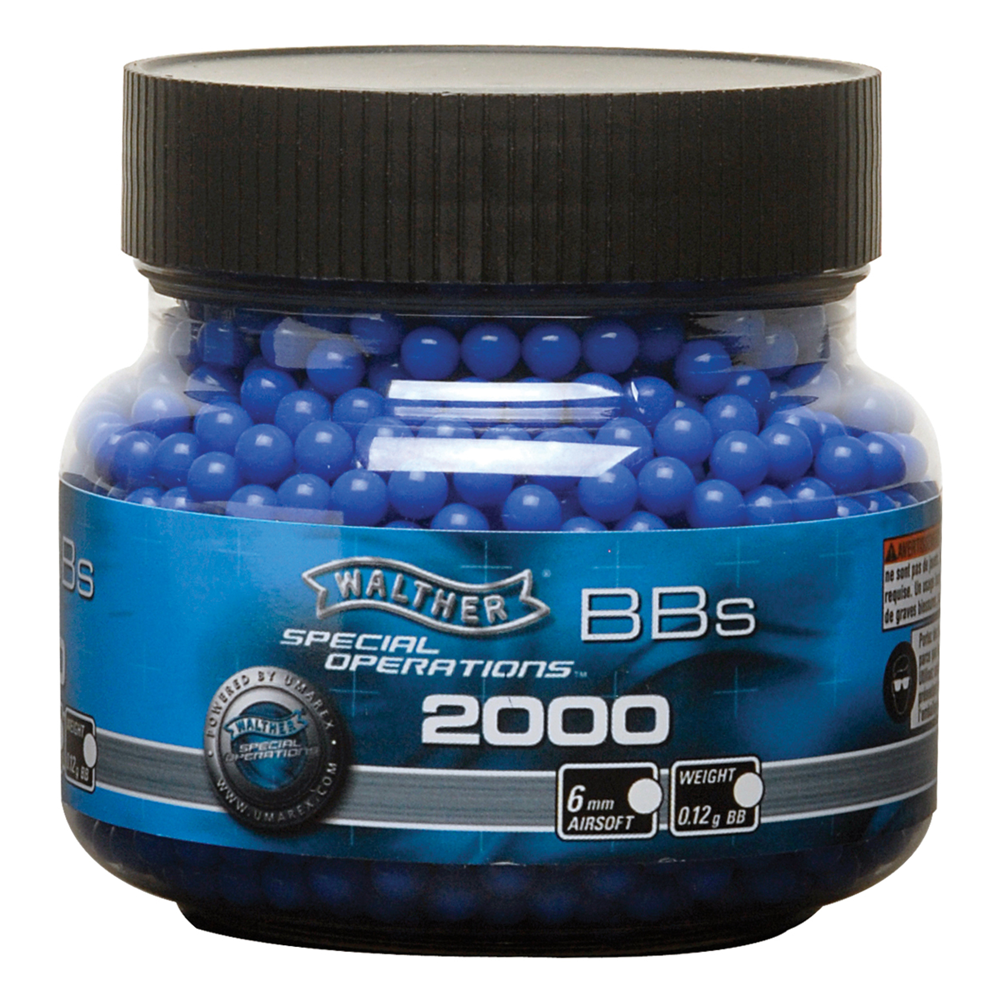 Walther 6mm .12 gram Blue Synthetic Airsoft BBs, 2,000 Count