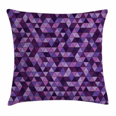 Geometric Throw Pillow Cushion Cover, Triangle Grid Pattern Mosaic Tile in Lavender Plum Purple Amethyst Tones of Color, Decorative Square Accent Pillow Case, 18 X 18 Inches, Multicolor, by -