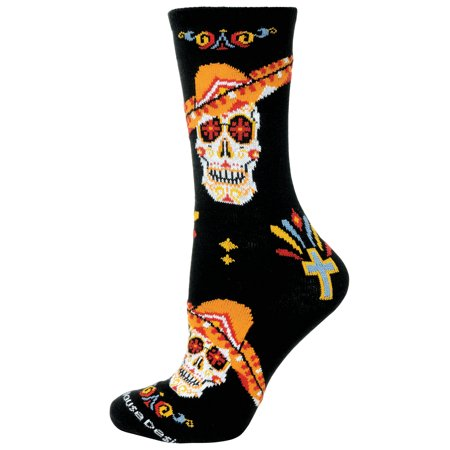 Day of the Dead With Sombrero Black Large Cotton Socks - Large Sombrero