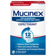 Mucinex Maximum Strength 12 hour Chest Congestion Medicine, Chest Congestion Relief, Expectorant, Lasts 12 hours, Powerful Symptom Relief, Extended-Release Bi-layer tablets, 14 count