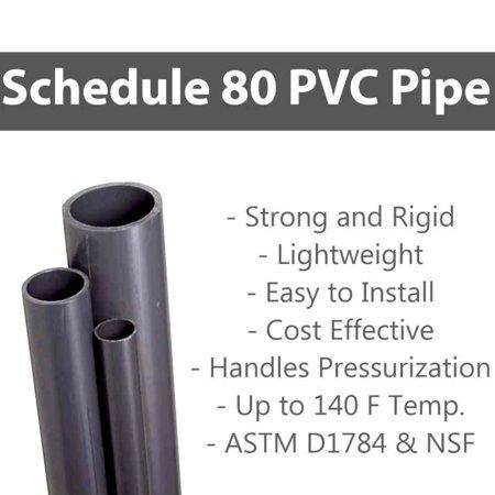 Premium Industrial PVC Pipe Schedule 80 Grey 2 Inch (2 0)