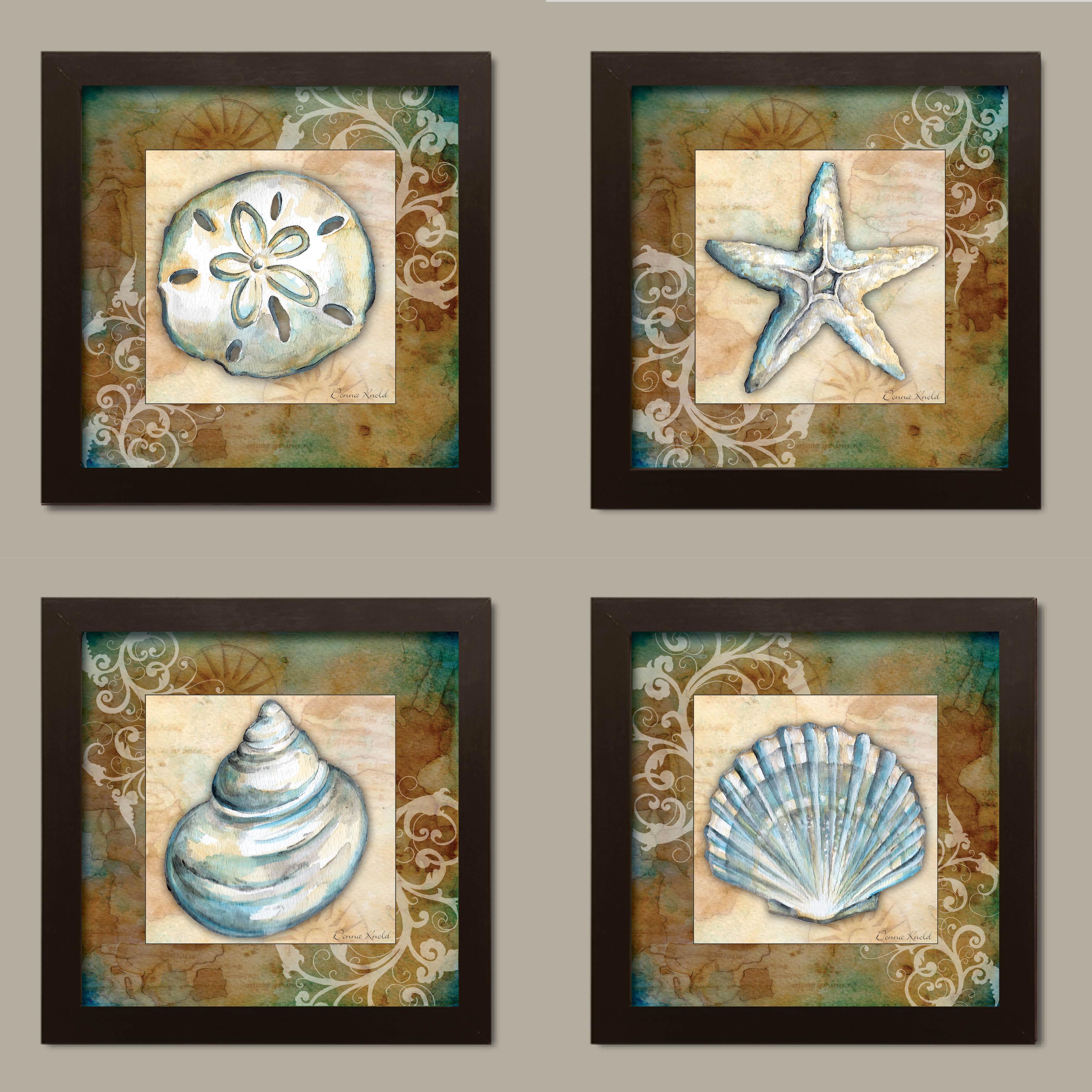 "Watercolor-Style Seashell Sand Dollar Starfish Coastal Set; 4-12x12/"" Posters"