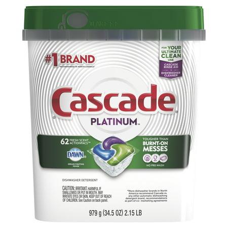 Cascade Platinum ActionPacs, Dishwasher Detergent, Fresh, 62 count ()