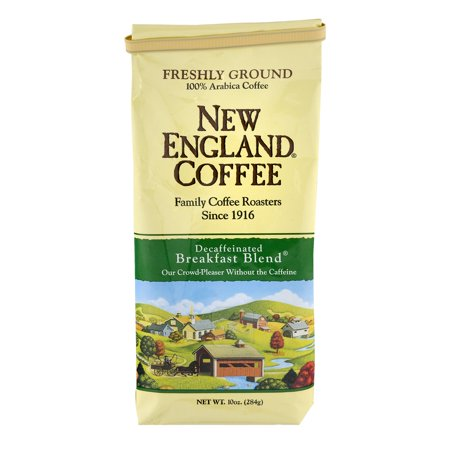 (2 Pack) New England Coffee Decaffeinated Breakfast Blend Freshly Ground 10.0