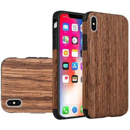 Apple iPhone X XS Case, by HR Wireless Wood Grain TPU Rubber Candy Skin Case Cover For Apple iPhone X XS