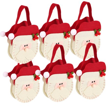 Holiday Treat Boxes (6 Pack Christmas Gift Candy Bags, Christmas Present Candy Bags Santa Pants Style Lovely Treat Bags For Children Lover Best for Wedding Party Holiday New Year)