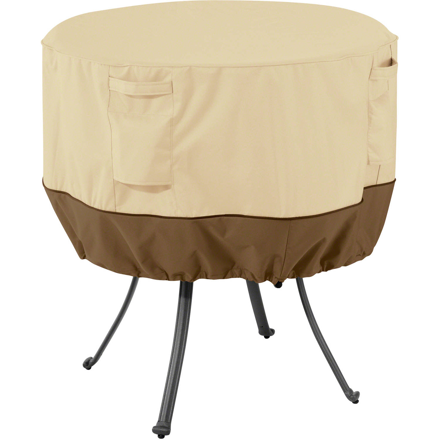 Classic Accessories Veranda Round Patio Table Furniture Storage Cover, Pebble