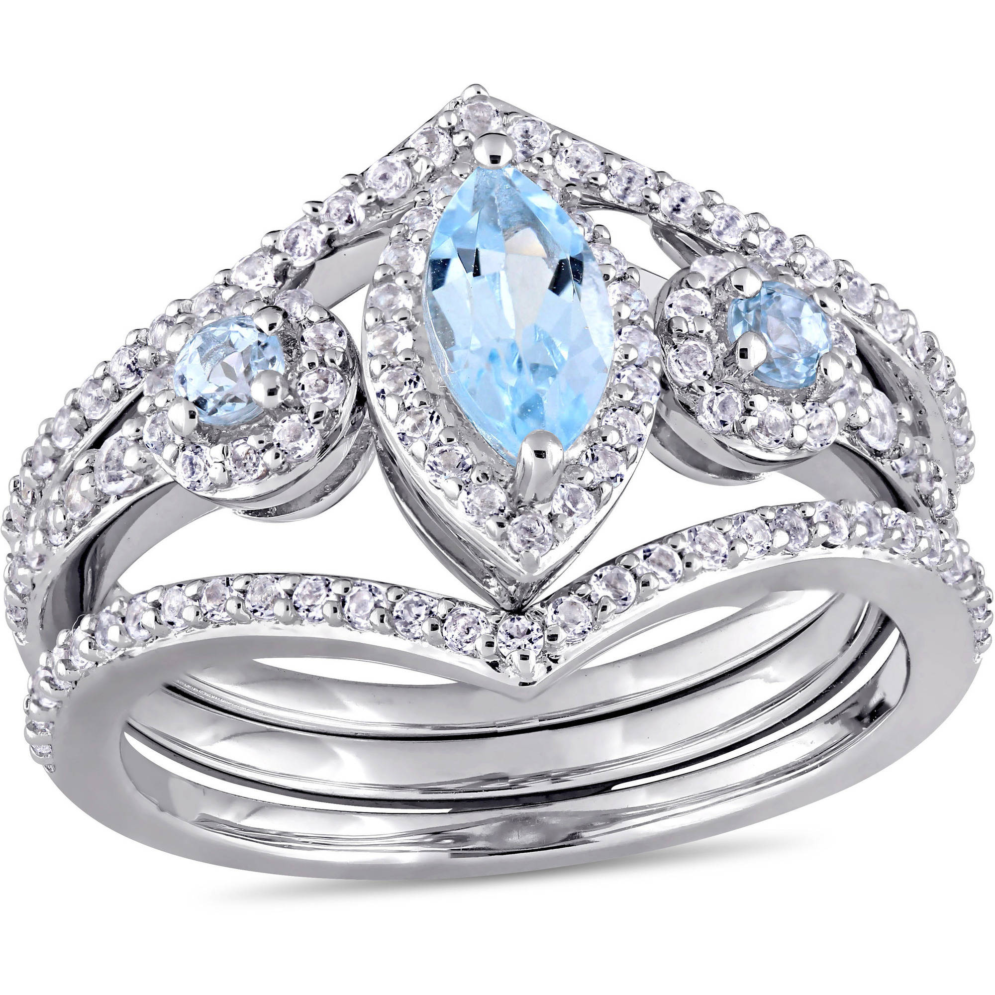 Tangelo 1-2 5 Carat T.G.W. Marquise and Round-Cut Blue Topaz and Round-Cut White Topaz Sterling Silver Three-Stone... by Tangelo