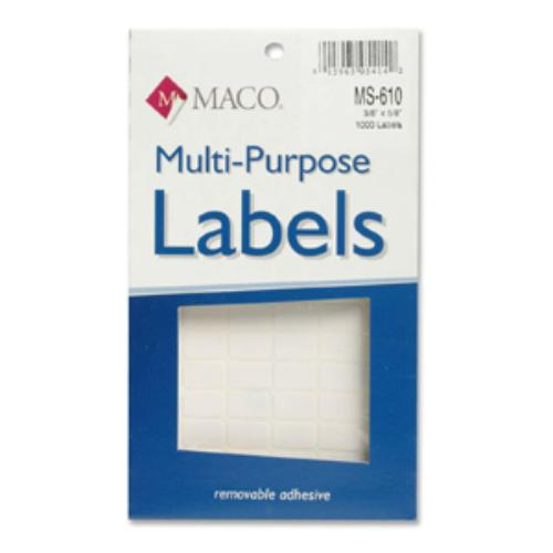 "Maco Ms-610 Mulitpurpose Removable Labels - 0.38"" Width X 0.62"" Length - Removable - 1000 / Box - White (ms610)"