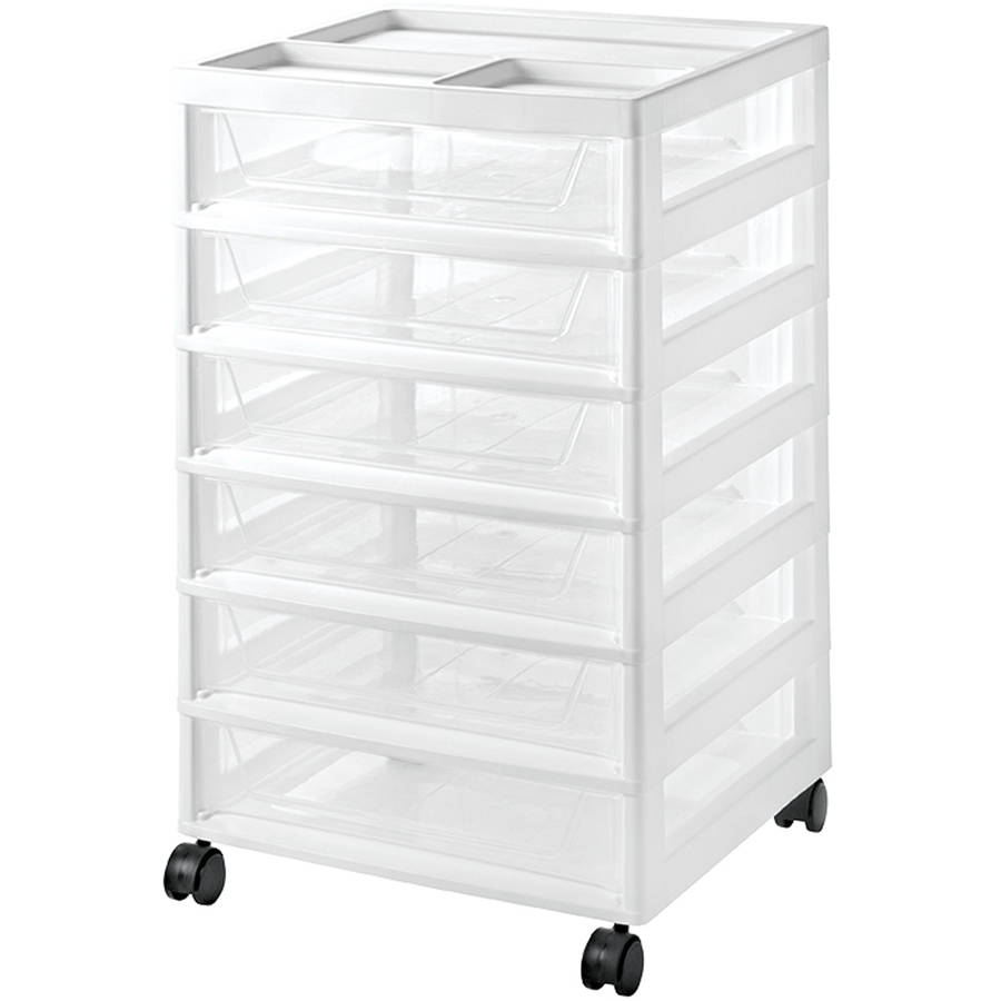 IRIS 6 Drawer Scrapbook Storage Cart, White