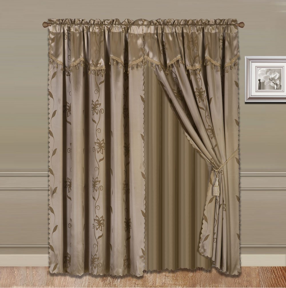 GorgeousHomeLinen 8-Piece Taupe Tan Nada Luxury Faux Jacquard Flower Design Panel, Rod Pocket Window Curtain Set Attached Valance, Panel, And.., By Gorgeous Home LINEN