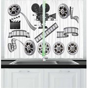 Movie Theater Curtains 2 Panels Set, Movie Industry Themed Greyscale Illustration of Projector Film Slate and Reel, Window Drapes for Living Room Bedroom, 55W X 39L Inches, Grey Black, by Ambesonne