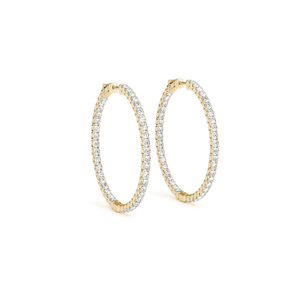 Cubic Zirconia Hoop Earrings for Women in 14K Yellow Gold 1.50 CT TGW - image 3 de 3