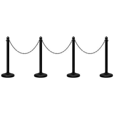 Costway 4Pcs Set Plastic Stanchion 39.5'' Chain C-Hooks Fillable Base Crowd Control