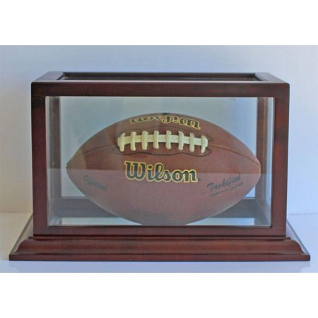 Football Display Case Holder Showcase, wood frame, Mahogany finish (FB73-MA)