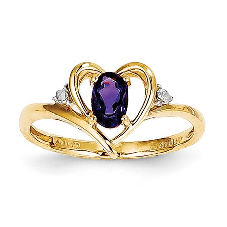 14K Diamond & Amethyst Ring