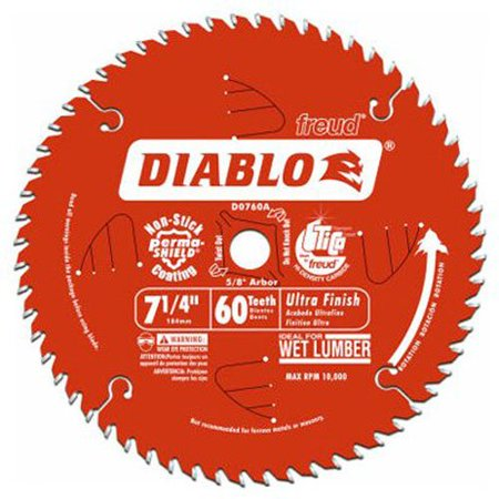 D0760X Diablo Ultra Finish Saw Blade ATB 7-1/4-Inch by 60t 5/8-Inch Arbor, Ultra thin kerf for fast, easy cutting and minimum waste By Freud