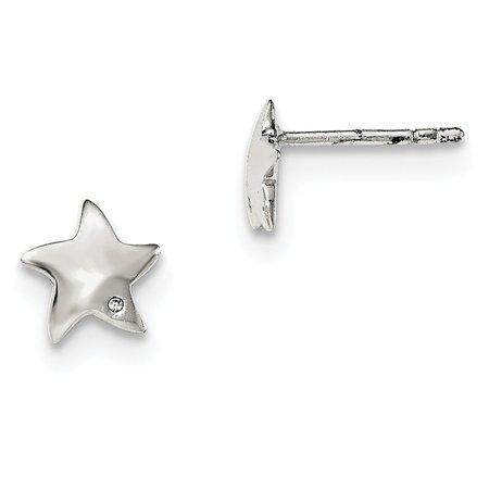 Sterling Silver Diamond Star Post Earrings - .010 dwt ()